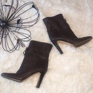 Michael Kors Brown Leather Ankle Boots Booties